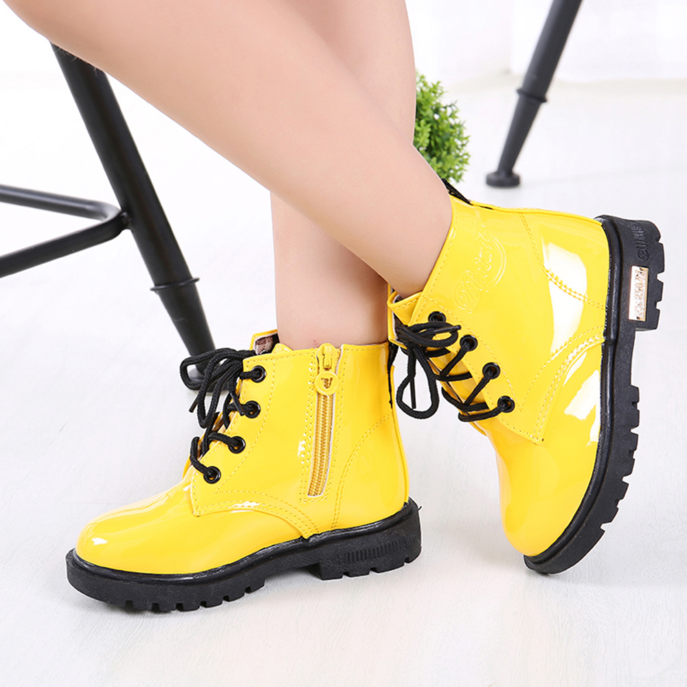 New Boots for Children Size 21-35 Martin Boots for Girl PU Leather Waterproof Winter Kids Snow Shoes Girls Rubber Boots