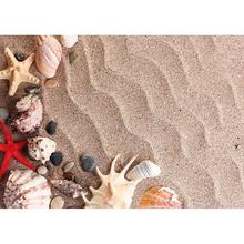 Starfish Shell Conch Ripple Sand Photo Backgrounds Custom Photocall Backdrop for Children Baby Toy Photography Props Photoshoot