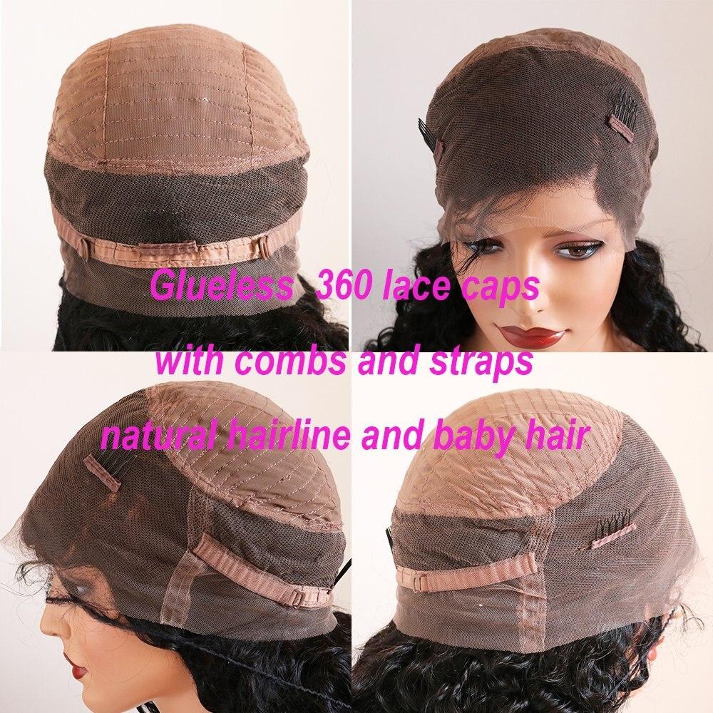 Pelucas de cabello humano de encaje 360 sin pegamento con reflejos Rubio Preuvian Peluca de encaje completo Remy pelo Pre desplumado con pelo de bebé - 6