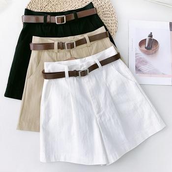 Wasteheart Summer New Black Khaki Green Polyester Shorts Women High Waist Camel Short Bottom Zipper Sashes England Style