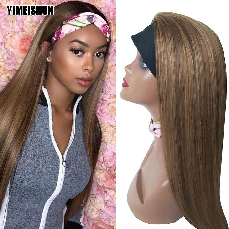 YIMEISHUN Highlight Straight Headband Scarf Wig Glueless Human Hair Wig for African American Women Affordable Headband Wig