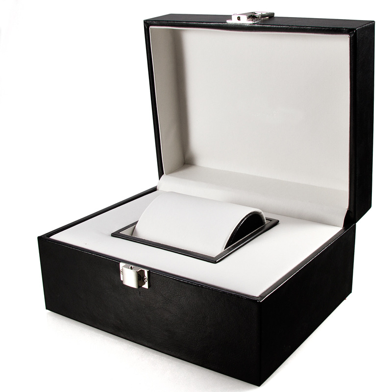 Caixa de relógio de couro display caso