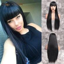 Волосы aisi 30 дюймов прямой длинный парик черный с челкой три