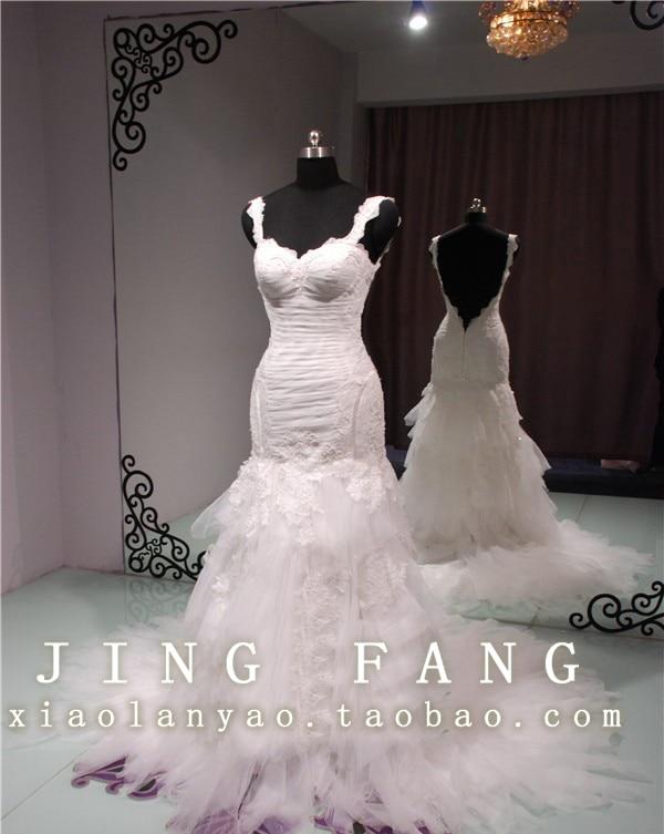Casamento Romantic Sexy Backless A-line Long Beading New Fashion Vestido De Novia Wedding Dress 2014 Bridal Gown Free Shipping