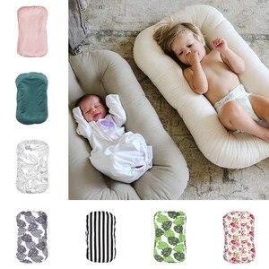 Мягкая портативная кровать для новорожденных, маточная двухслойная хлопковая кроватка для малышей, съемная кровать для младенцев, детская ...