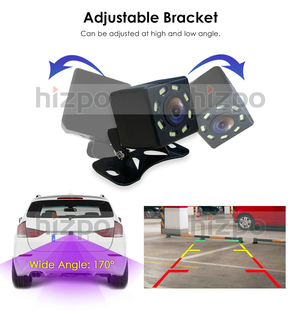 Black HIZPO/® Universal High-Definition Rear-View License Plate Back Up Waterproof Night Vision Camera