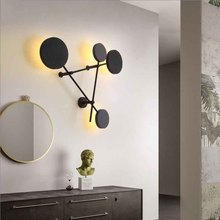 Nordic Indoor LED Wall Lamp Living Room Decoration Wall Light Home Lighting Fixture Round Aluminum Bedside Wall Sconces недорого