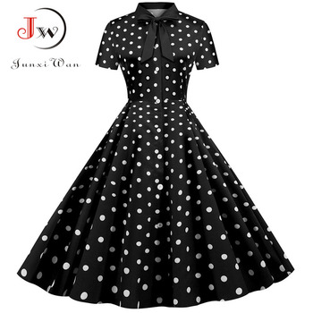 Summer Dress 2020 Women Elegant Vintage Short Sleeve Striped Print Bow Swing Party Office Pin up Dresses Casual Midi Plus Size 3