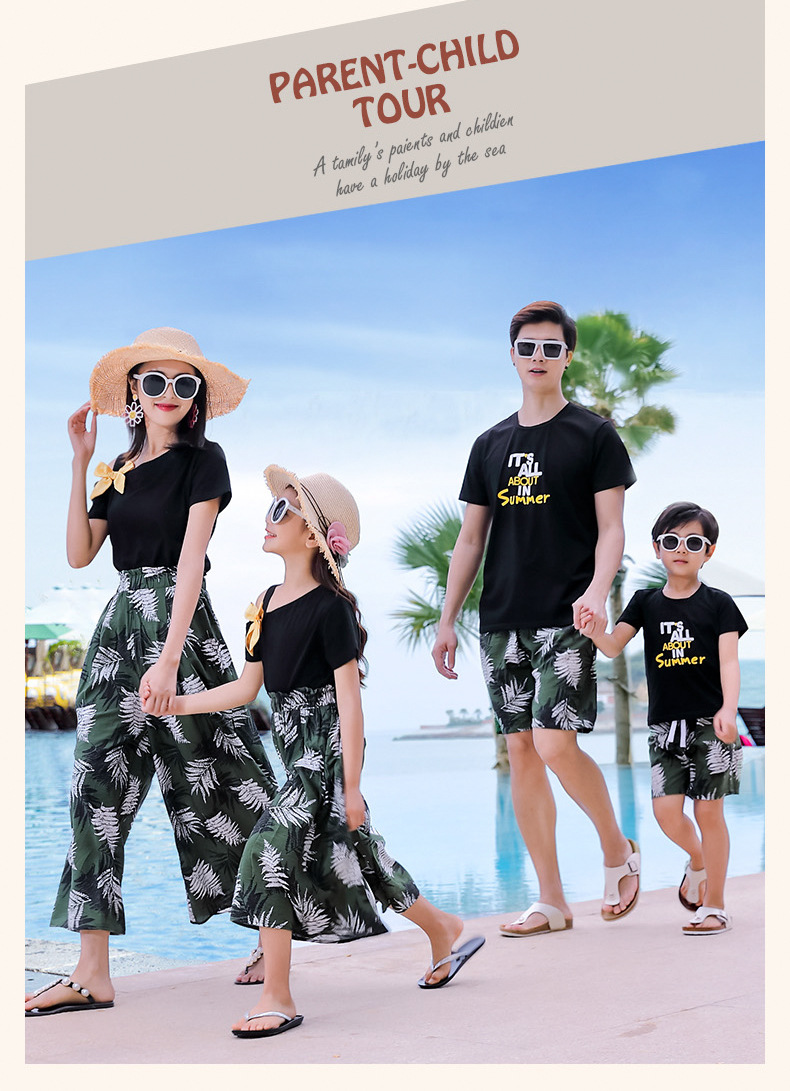 H4e652bb01dad4f78a28799e8c5493a16q - Matching Family Outfits Summer Mum Daughter Dad Son Cotton T-shirt +Pants Holiday Seaside Beach Couples Matching Clothing