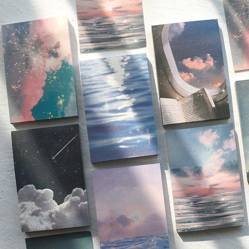 Journamm 100pcs/lot Ins Style Rainbow Star Sunset Waves Loose Leaf Memo Pads Minimalist Write Down Points Artsy Style Memo Pads