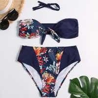 Kobiety stroje kąpielowe bikini z wysoką talią 2019 nowy Bandeau 2 sztuk stroje kąpielowe kwiatowy wydrukowano Push Up Biquinis kobiet Sexy strój kąpielowy XL