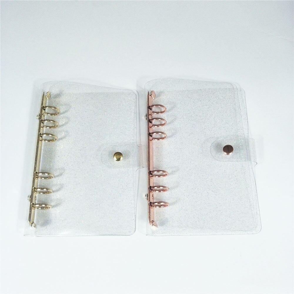 A5/A6 Блестящий блестящий чехол для ноутбука в виде листа с внутренним сердечником, 6 колец, Золотое розовое золото, папка для файлов, кольцо дл...
