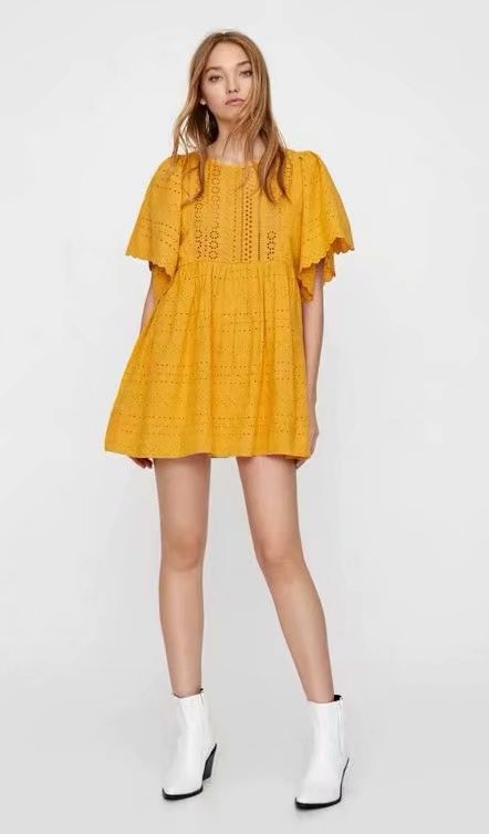 Summer Lace A Line Loli Lolita Cute Sweetie Girls Mini <font><b>Dress</b></font> Cotton <font><b>Sunflower</b></font> <font><b>Yellow</b></font> Sunshine <font><b>Dress</b></font> image