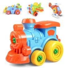 Раннее Обучение Образование Сделай Сам Винт Гайка Группа установленная пластиковая 3d головоломка разборка поезд автомобиль детские игрушки для детей игрушки