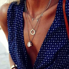 Bohemian Multi layer Round Crystal Shell Pendant Necklaces For Women Fashion Geometric Charm Chains Necklace Jewelry