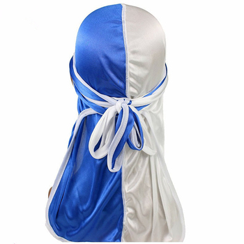 Unisex Satin Turban Fashion Long Tail Silky Durag Bandanna Women Men Pirate Hat Patchwork Head Scarf Hair Accessories India Hat image