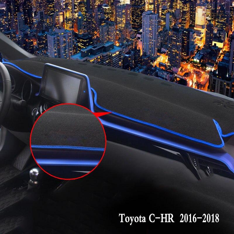 Tapis de couverture de tableau de bord de voiture Auto pare-soleil coussin protection intérieure garniture de tapis accessoires pour Toyota C-HR CHR 2016 2017 2018