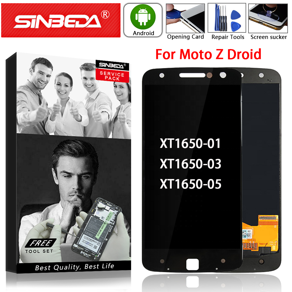 Super AMOLED For Motorola MOTO Z Droid XT1650 LCD Display Touch Screen Digitizer For Moto Z XT1650-01 XT1650-03 LCD Screen Parts