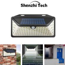 Solarna ścienna oświetlenie zewnętrzne 102 LED Solar lampy z czujnikiem ruchu IP65 wodoodporna słoneczna dziedziniec światła ogrodowe tanie tanio SHENZHITECH CN (pochodzenie) Waterproof Solar Lights HK-3M102 3 7 V Żarówki led Nowoczesne HOLIDAY Bateria litowa Solar Lights Outdoor