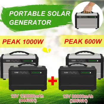 1000W Portable Solar Generator Inverter UPS Pure Sine Wave Powers Supply USB Outdoor Energy Storage LCD Display 120000mAh