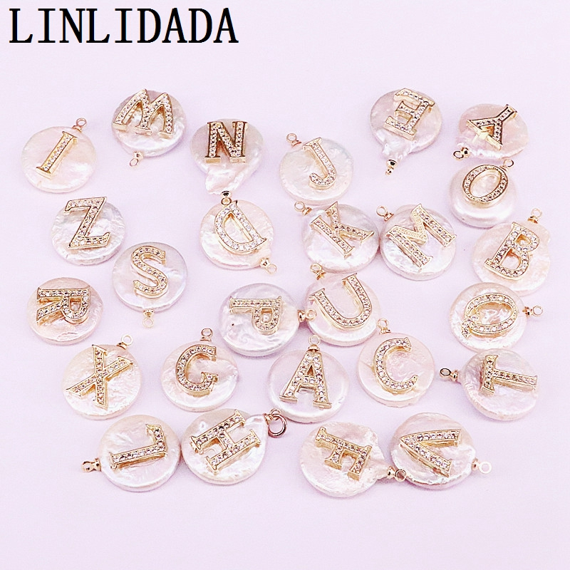 Image 3 - 12Pcs  cz micro paved gold Initial letter charm white round coin  pearl bead pendant necklace for womenChoker Necklaces