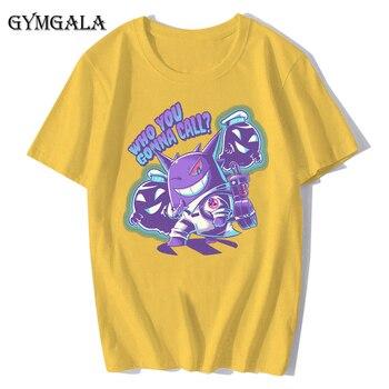 100% cotton anime cartoon Geng ghost printed men's T-shirt summer cotton short-sleeved T-shirt fashion tops tee men's clothing f - XQ-122 yellow, Asian size XXL