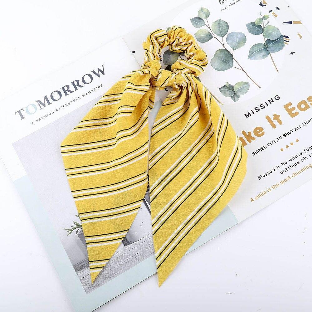 Levao fleur impression cheveux écharpe arc chouchous queue de cheval bandeau pour femmes cheveux accessoires nœud papillon élastique cheveux corde bandeaux 37