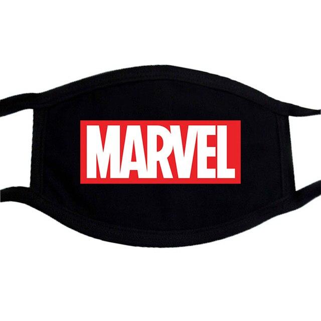 The Avengers Marvel Superhero Funny Face Masks Unisex Dustproof  Mouth-Muffle Mask Washable Black Bilayer Winter Warm Mask 1