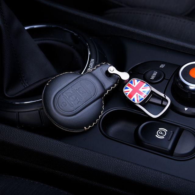 Deri anahtar kutusu araba anahtarlık kapak BMW MINI COOPER S JCW F54 F55 F56 F57 F60 CLUBMAN COUNTRYMAN araba styling aksesuarları