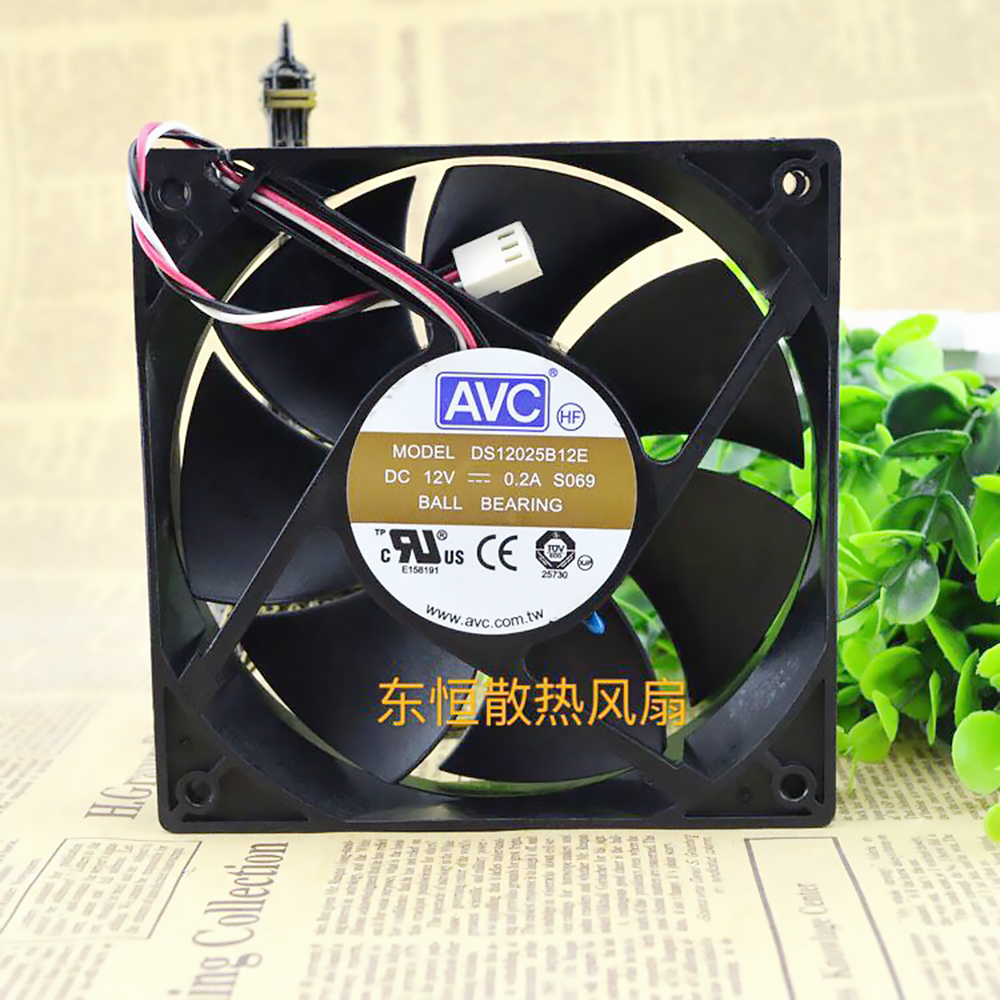 For AVC DS12025B12E 120*120*<font><b>25</b></font> <font><b>mm</b></font> chassis power CPU computer cooling <font><b>fan</b></font> 4P pwm tempreture controller image