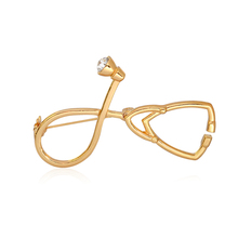 New Medical Stethoscope Brooch Pins Gold Silver Crystal Collar Corsage Nurse Physicians Student Graduation Gift