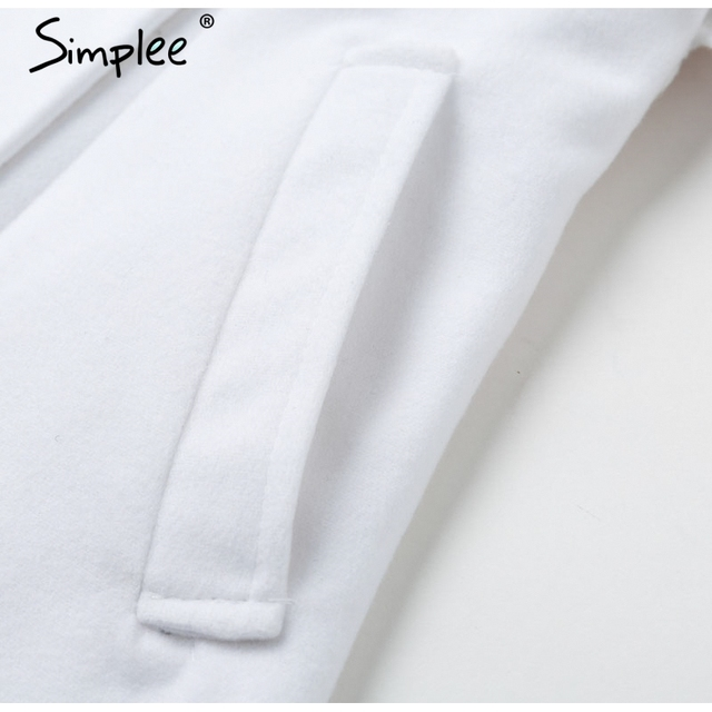 Simplee Vintage double breasted white trench coat for women Sashes slim long trench female Winter office solid trench dress 6