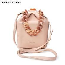ZURICHOUSE Brand Handbags Women High Quality PU Leather Shoulder Bag Fashion Acrylic Handle Clutch Crossbody Bucket Bags Ladies