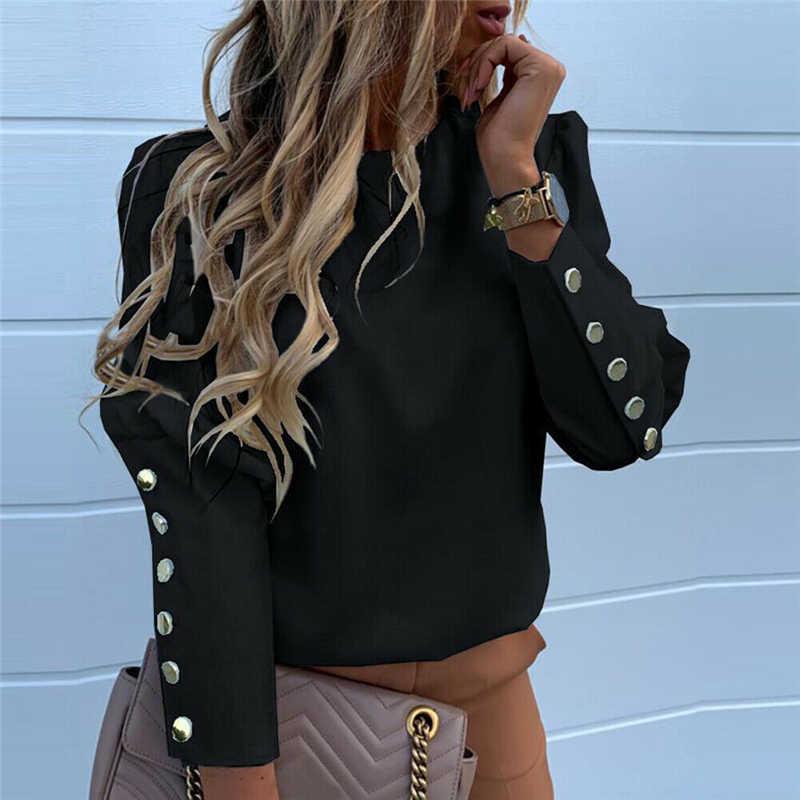 1PC 2020 Wanita Blus Fashion Slim OL Kasual Atasan Lengan Panjang Lebih Tahan Dr Kantor Wanita Top Tombol Wanita Atasan wanita Kemeja