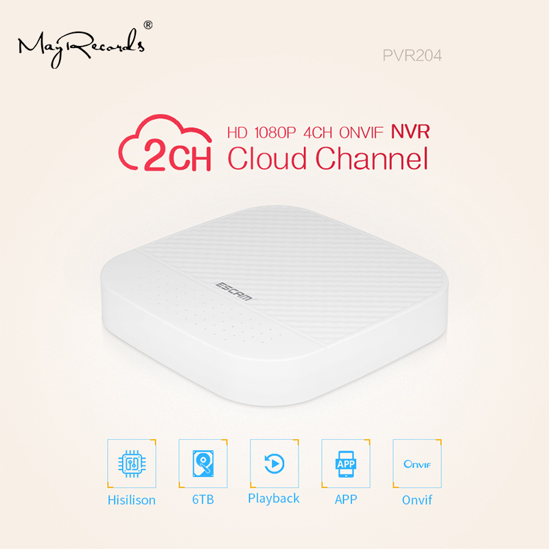 ESCAM PVR204 1080P 4+2CH ONVIF NVR with 2ch Cloud Channel For IP Camera System