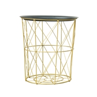 Creative Nordic Golden Iron Metal Coffee Table Dirty Storage Basket Tea Fruit Snack Service Plate Tray Bed Living Room Sofa Side|Laundry Baskets| |  -