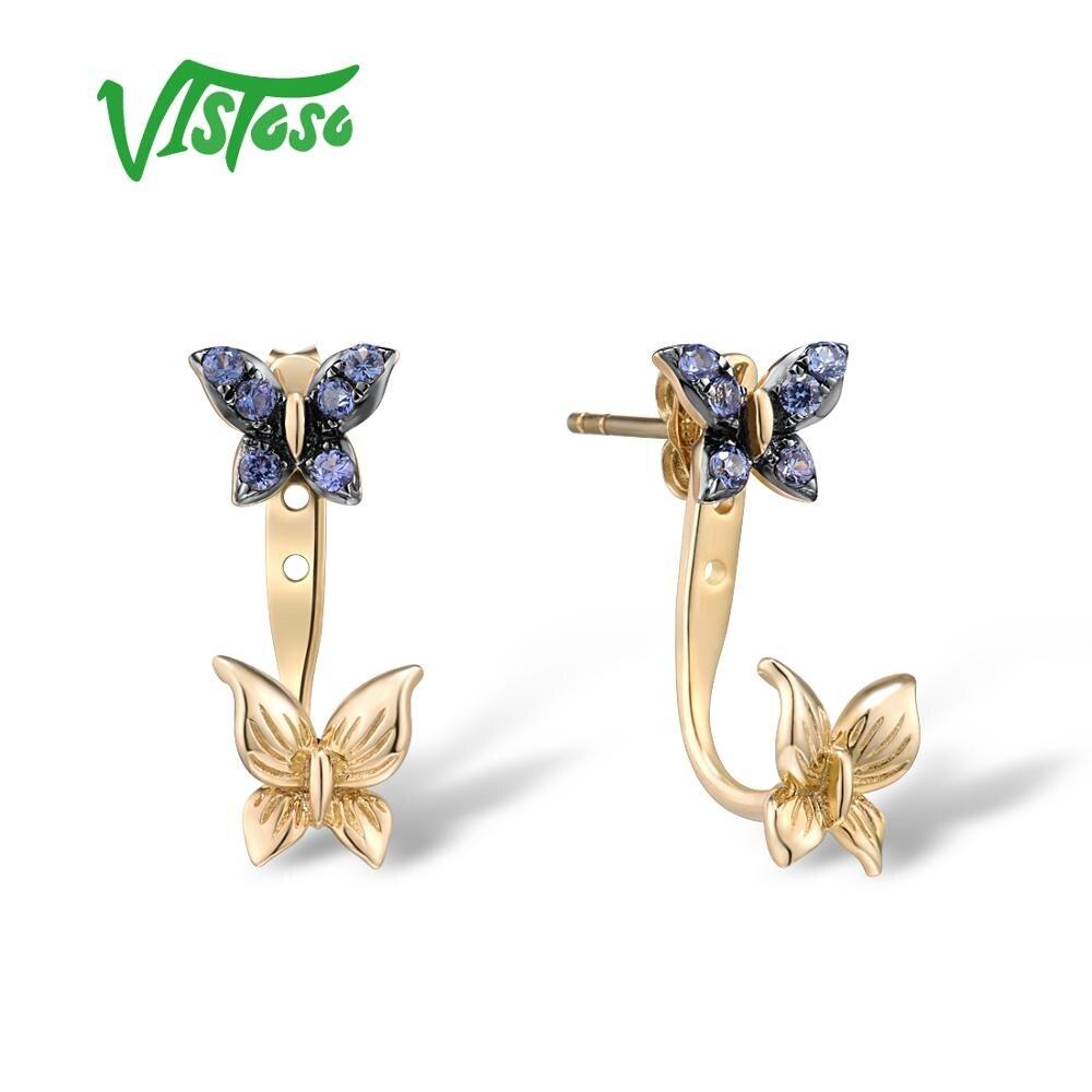 VISTOSO véritable 10K or jaune boucles d'oreilles pour femmes boucles d'oreilles créé saphir papillon boucles d'oreilles élégant à la mode Fine bijoux