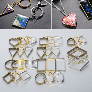 10pcs UV Epoxy Resin Mold Metal Geometric Frame Tools Heart Oval Round Charms Pendants Accessories for Jewelry Making DIY