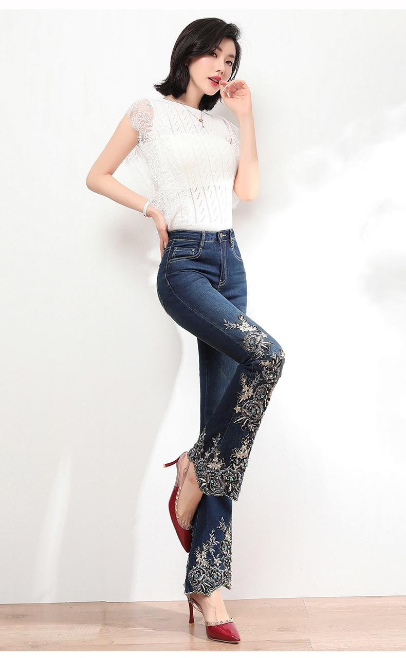KSTUN FERZIGE Jeans Women High Waist Stretch Dark Blue Flared Pants Embroidery Hand Beads Bell Top Quality Mujer Jeans Plus Size 36 13