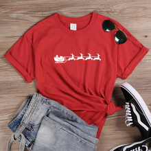 ONSEME Funny Elk & Santa Claus Graphic T Shirts Women Christmas Gift T Shirt Tees Female Streetwear Cotton Tops Tshirt Blessed christmas santa graphic pompon embellished sweatshirt