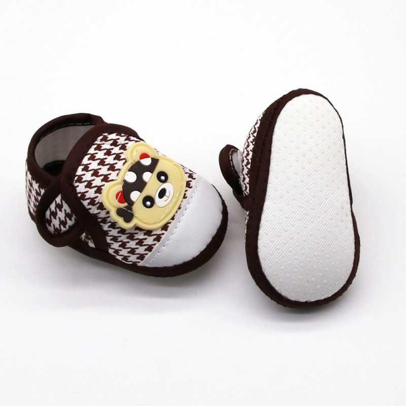 Sandália antiderrapante com desenho, sapato para bebês meninos e meninas, primeiros passos com estampa de desenho animado, sapatos para caminhada casual