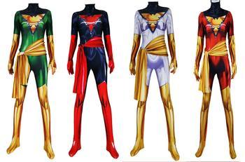 X men Dark Phoenix Cosplay Costumes X men Jean Grey Suits Zentai Halloween Bodysuit Adults