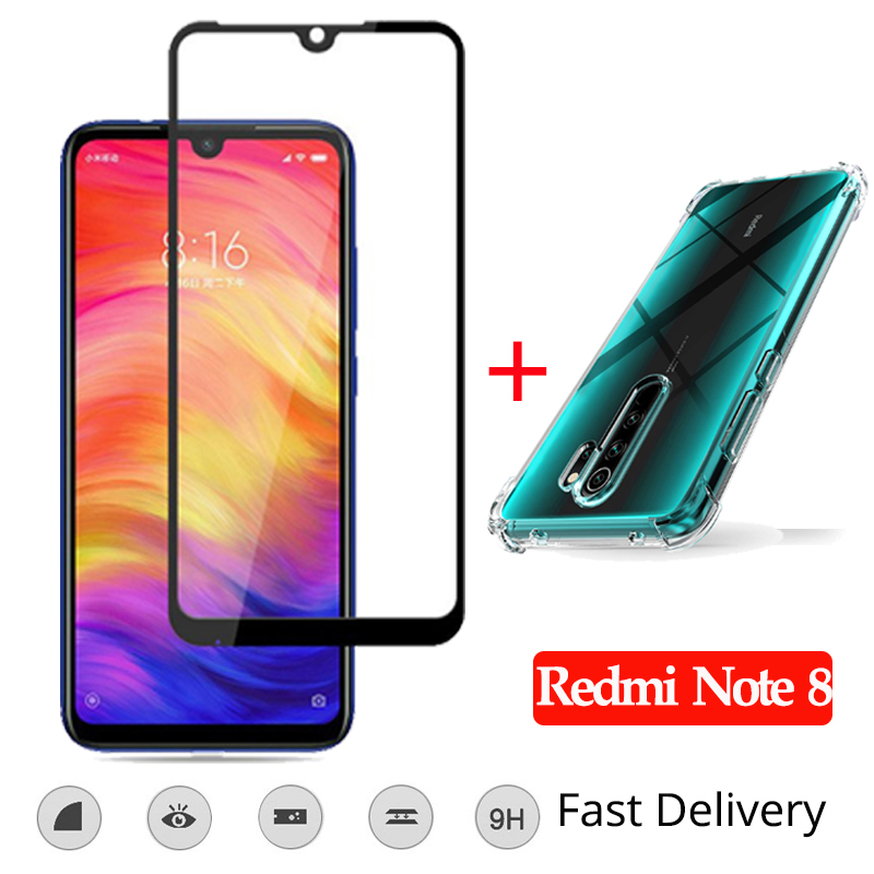 2019 Hot Sale Redmi Note 7 Case with Tempered Glass Screen Protector Xiaomi Pro Full Cover