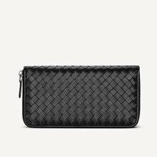 100% Sheepskin Leather Wallet Mens Long Woven luxury Clutch Bag Simple Fashion brand Women wallet Large Capacity Zipper New