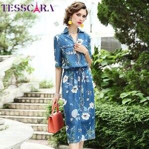 Женское джинсовое платье с цветочным принтом TESSCARA, летнее Элегантное Длинное винтажное платье высокого качества, вечерние платья, Дизайнер...