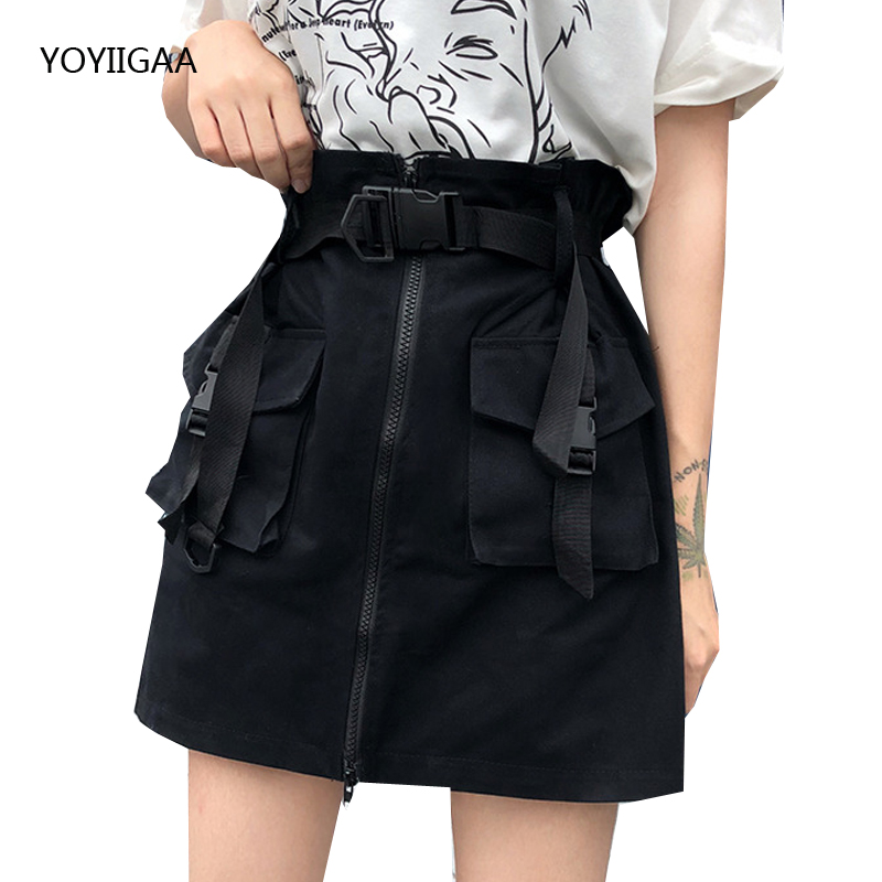 Hight Waist A-Line Women Mini Skirts Fashion Bodycon Ladies Short Skirt With Pockets Summer Streetwear Female Short Skirt