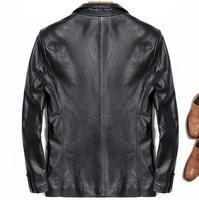 Mens Leather Suit Jacket Motorcycle 100% Natural Genuine Real Sheepskin Slim Fit Classic Italian Formal Blazers Black Male Coat