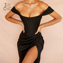 Justchicc Zomer Zwart Off Shoulder Sexy Jurk Vrouwen Hoge Split Strapless Club Bodycon Jurk Backless Elegante Midi Party Jurken(China)