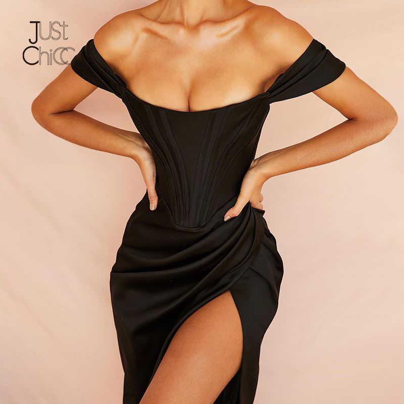 فستان Justchicc صيفي أسود بدون أكتاف مثير للنساء فستان حفلات ميدي أنيق بدون حمالات بدون حمالات بدون ظهر