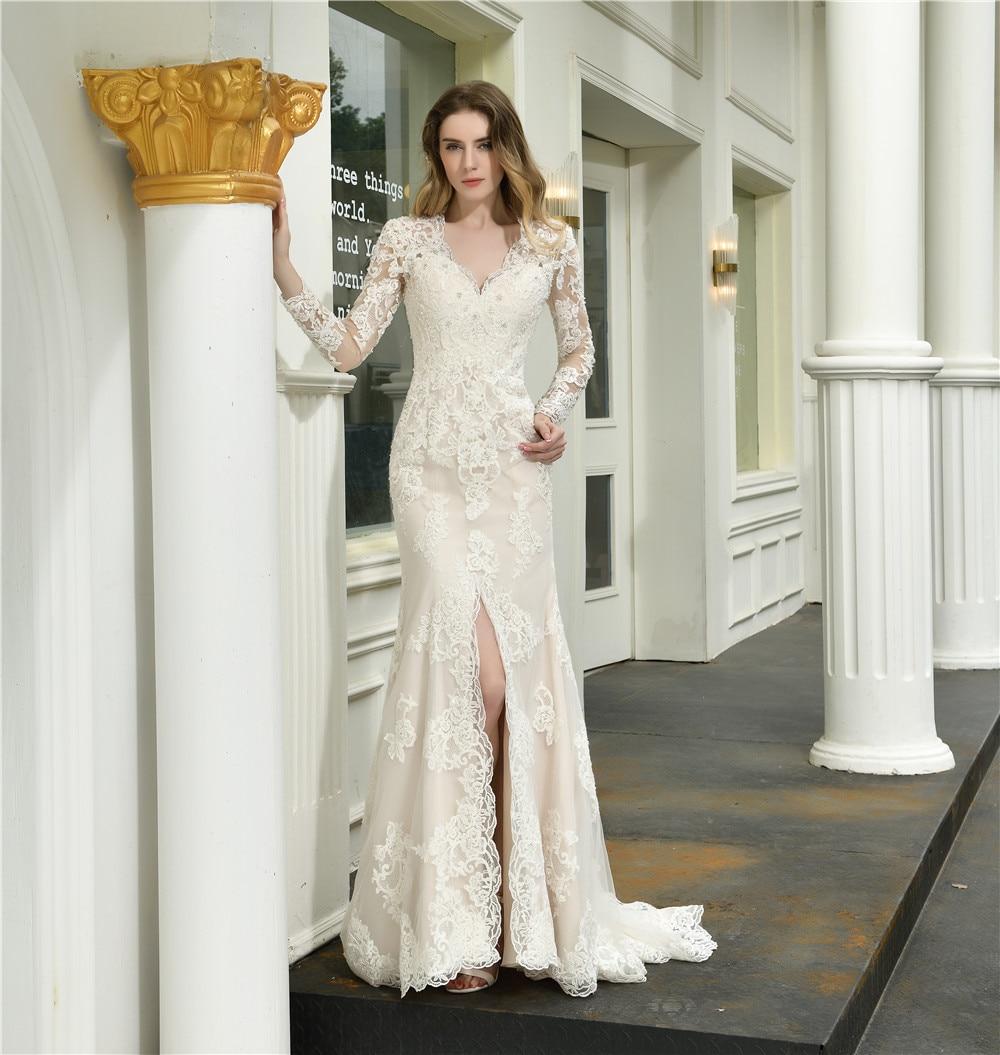 Свадебное платье цвета слоновой кости с кружевной аппликацией 2019, свадебное платье для невесты с v-образным вырезом и шлейфом, свадебное